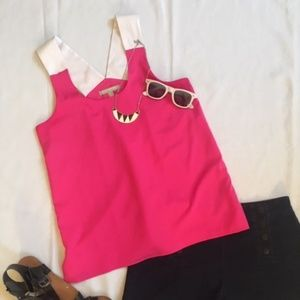 Pink and White color-block tank